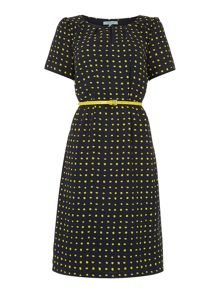 Spot pleated tea dress