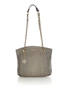 Fashion taupe large chain cross body bag