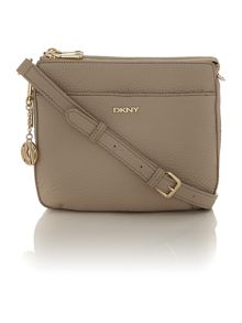Tribeca taupe double zip rounded cross body bag