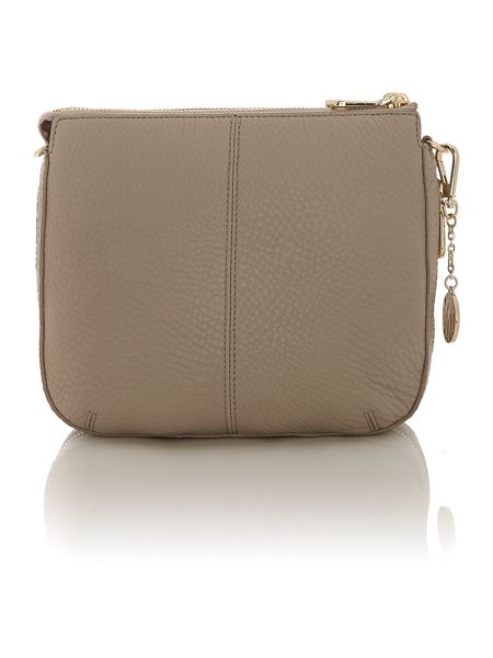 DKNY Tribeca taupe double zip rounded cross body bag