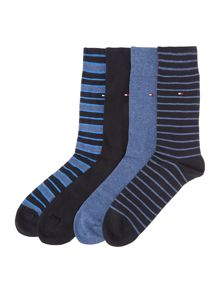 Plain And Stripe Sock Four Pack
