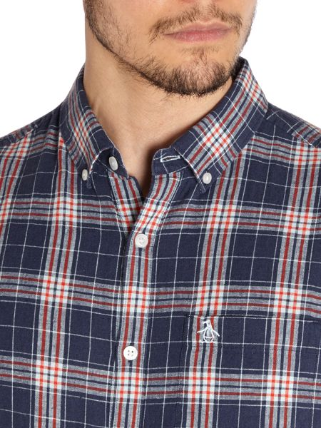 Original Penguin Linen Plaid Short Sleeve Shirt