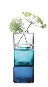 Stack Vase Trio H30cm in Clear/Blues