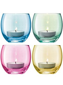 Polka Tealight Holder H6.5cm Pastel Assorted S/4