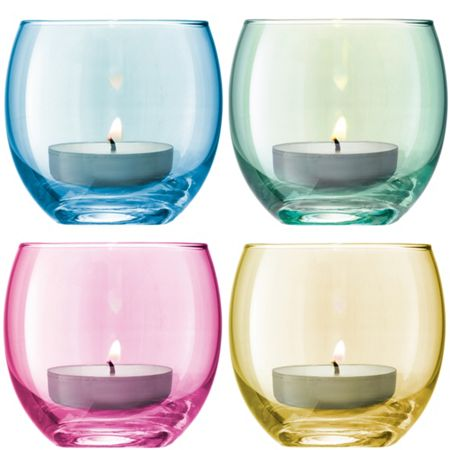 LSA Polka Tealight Holder H6.5cm Pastel Assorted S/4