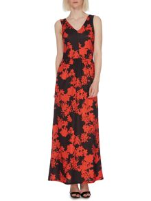 Silhouette floral stripe maxi dress