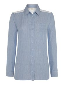 Linea Weekend Azure stripe broderie detail shirt