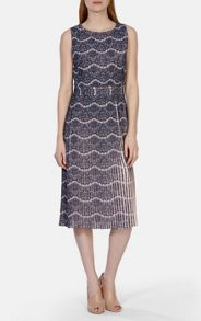 Printed pleated lace collection dress