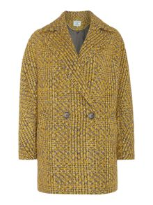 Double Breasted Textured Tweed Coat