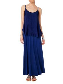 Silk tiered maxi dress