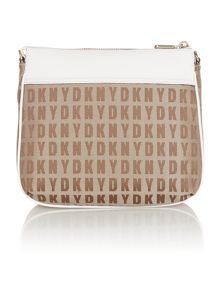 Saffiano neutral top zip cross body bag