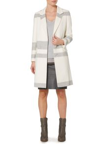 Winter white striped long coat
