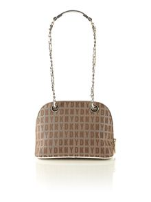Saffiano neutral small rounded cross body bag