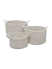 Gray & Willow Stripe Woven Storage Baskets (Set of 3)