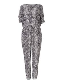 Gray & Willow Jakki scratch print biker jumpsuit
