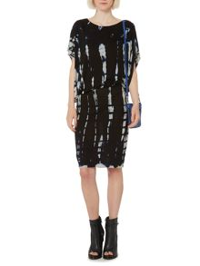 Tie dye drape hitch dress