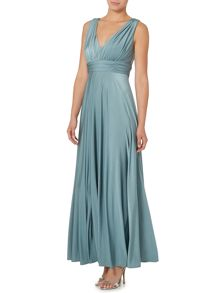 Deep V full skirted maxi dress