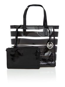 Eliza black stripe tote bag