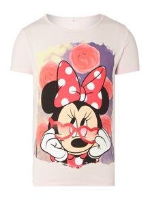 Girls Minnie Mouse With Sweet Background Tee