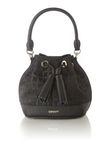 Saffiano black mini bucket bag