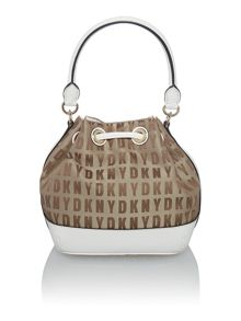 Saffiano neutral mini bucket bag