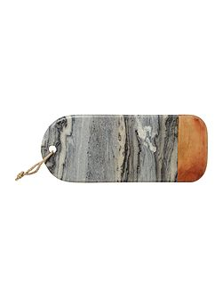 Dark marble and wood cheese board
