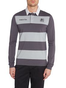 Scottish Rugby Logo Stripe Regular Fit Rugby Top