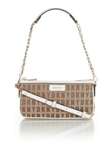 Saffiano neutral small shoulder bag