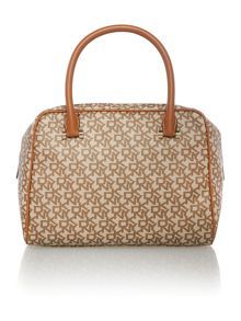 Coated logo tan satchel bag