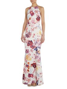 Strappy halter cross over low back maxi dress