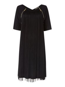 Zip detail fringing jersey dress