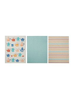 Teapot set of 3 tea towels