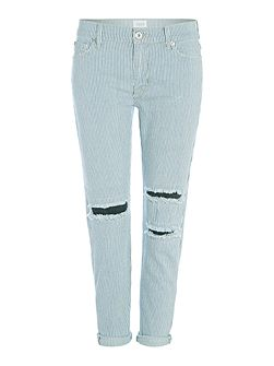 Hudson Jeans Jude slouch skinny cropped ripped pinstripe