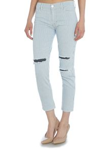 Hudson Jeans Jude slouch skinny cropped ripped pinstripe jean