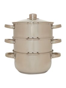 Linea 3 piece stainless steel steamer