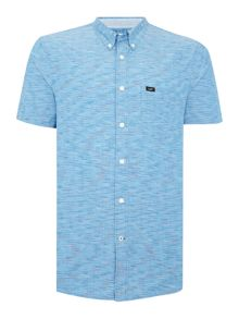 Lee Textured Classic Fit Short Sleeve Button Down Shi