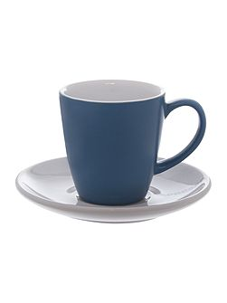 Blue espresso cup & saucer set of 2