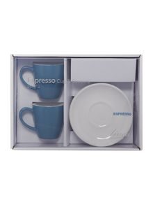 Linea Blue espresso cup & saucer set of 2