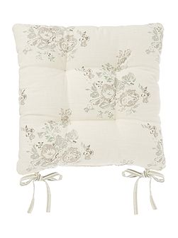Shabby Chic Floral stripe seat pad