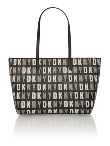 Coated logo black top zip tote bag