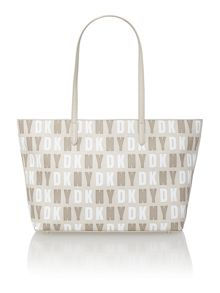 Coated logo neutral top zip tote bag