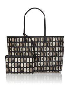 Coated black large tote bag