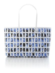 Coated blue large tote bag