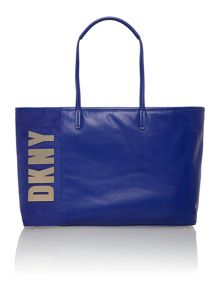 Metal letters navy large tote bag