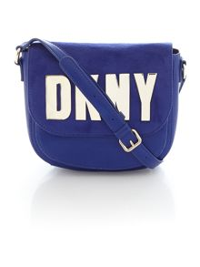 Metal letters navy top zip crossbody bag