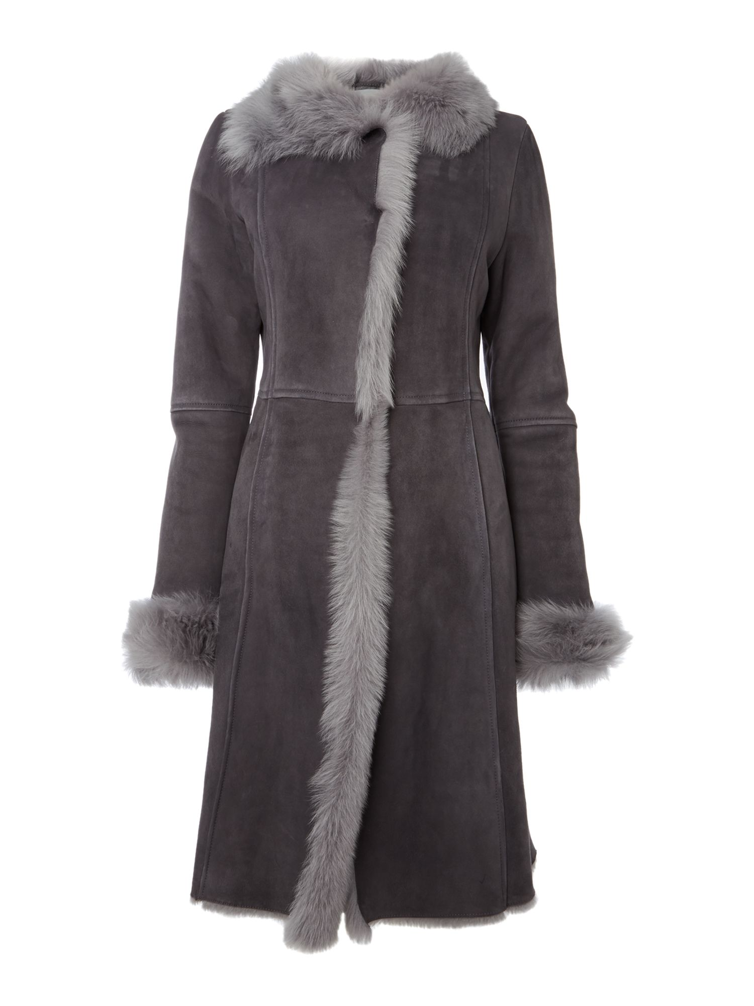Gray & Willow Real shearling long length coat, Dark Grey