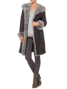 Real shearling long length coat