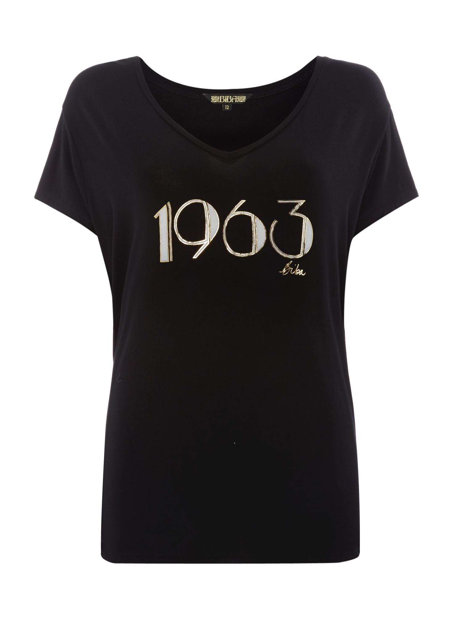 Biba 1963 slogan relaxed v neck tee, Black