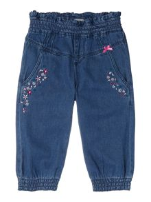 Girls cuffed denim with floral details