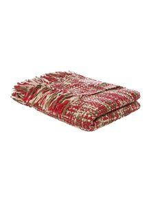 Linea Check woven throw, red and cream